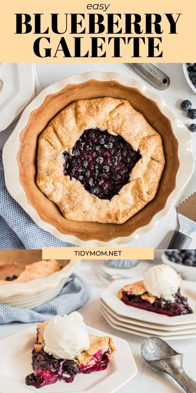 blueberry galette served with a scoop of vanilla ice cream on a white plate