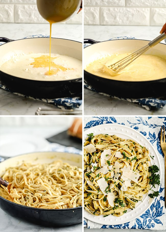 step by step photos on how to make fettuccine alfredo