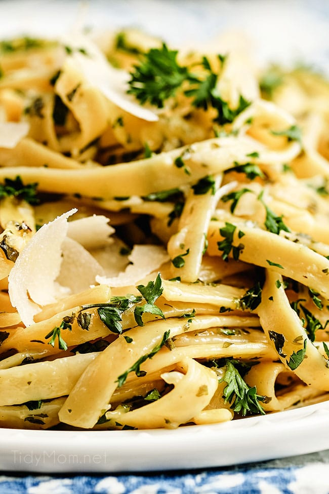 close up of creamy fettuccine alfredo with shaved Parmesan cheese