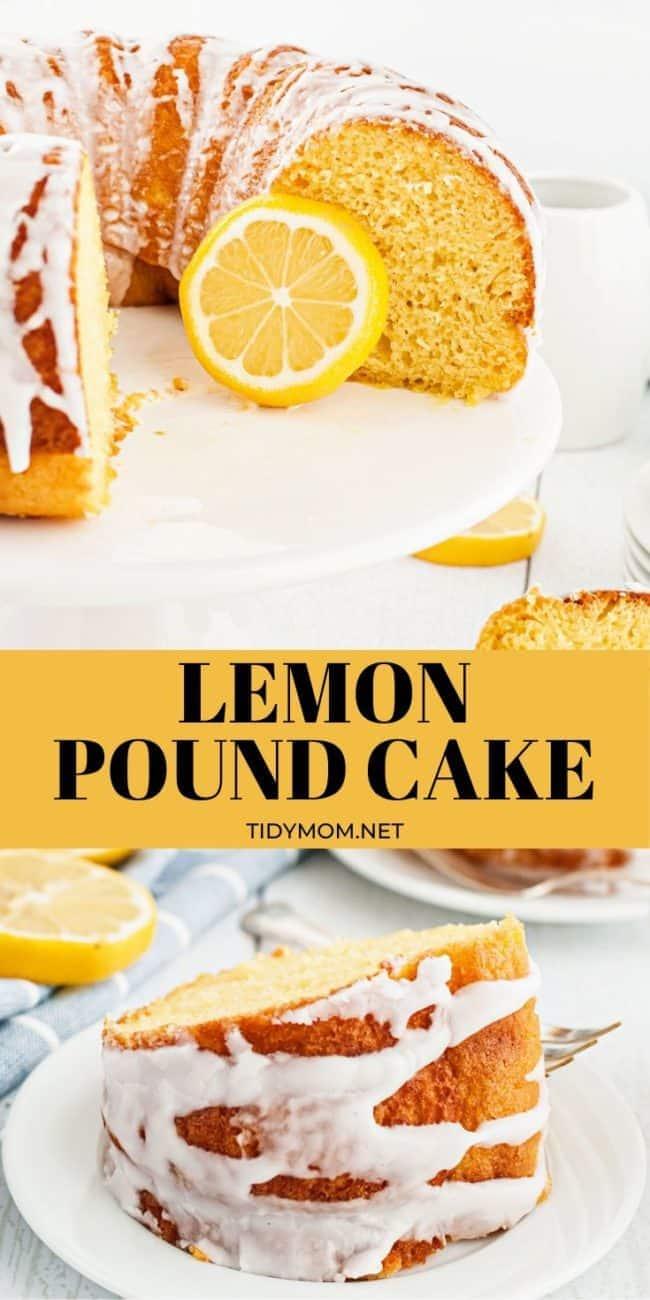 lemon bundt cake sliced and piece on a plate