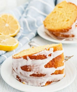 slices of pound cake on white plates