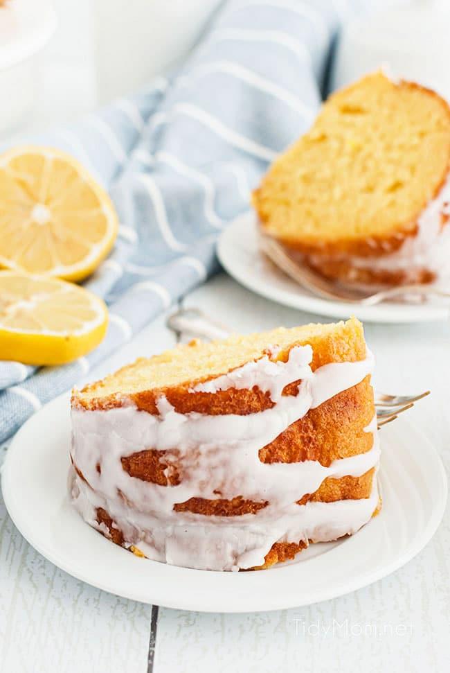 slices of pound cake on white plates