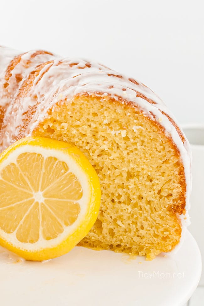 close up of sliced lemon cake