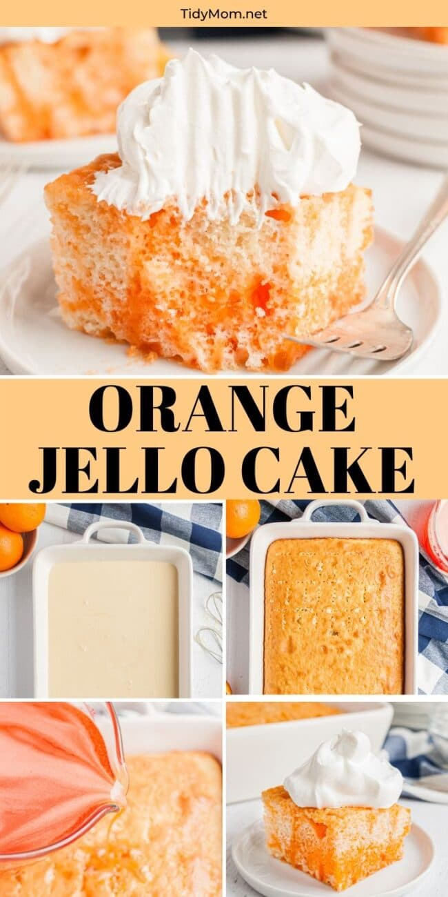 orange jello cake collage