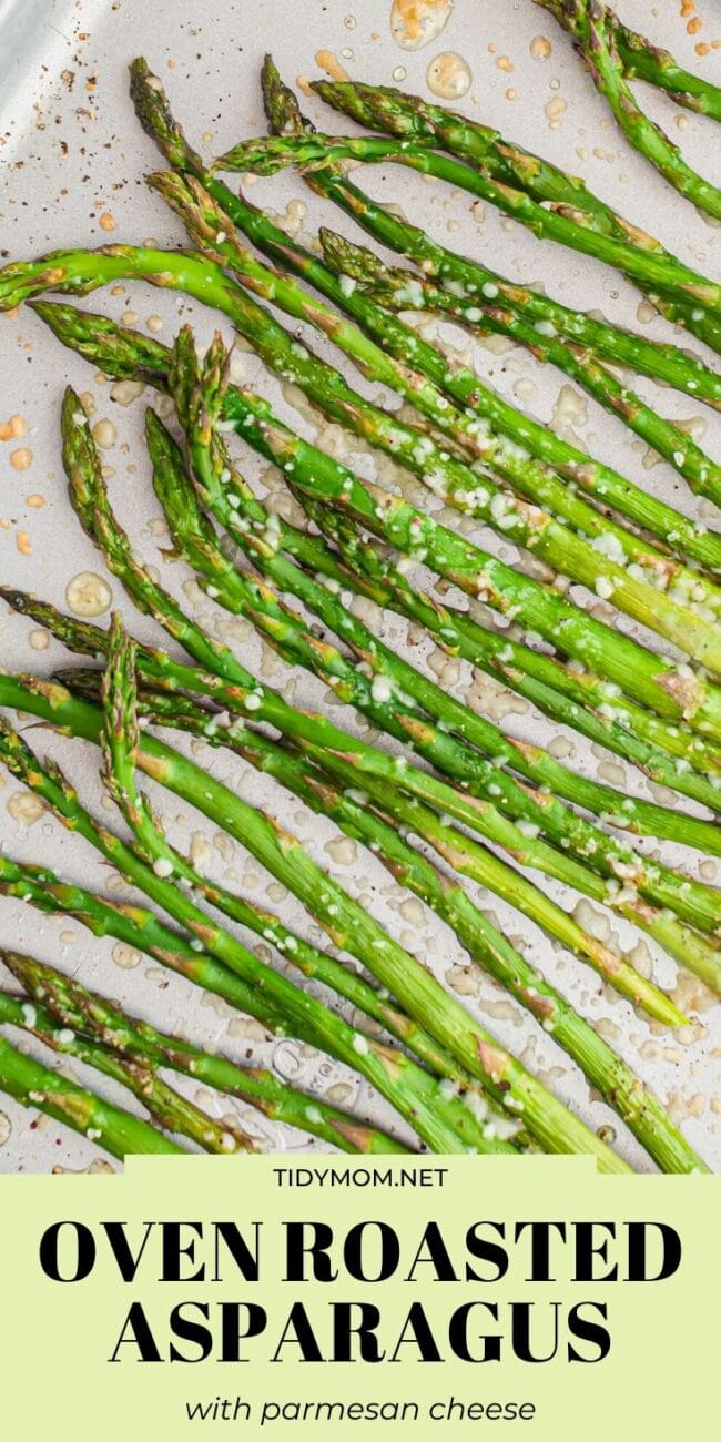 close up of asparagus laid out on a baking sheet