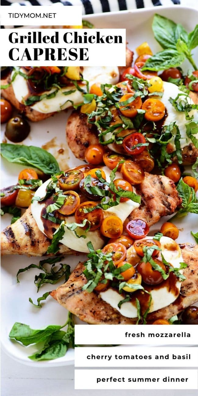 caprese grilled chicken on a platter