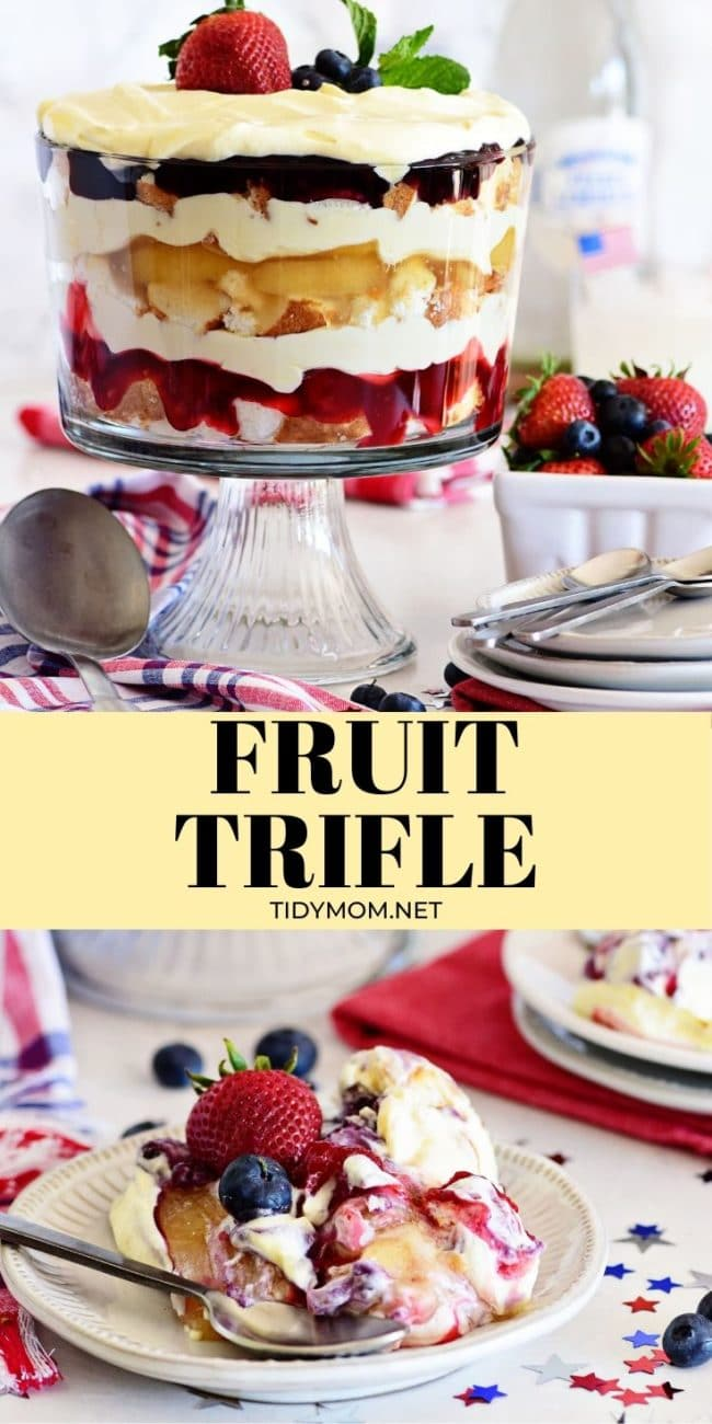 fruit trifle with pie filling in a dessert bowl and on a plate