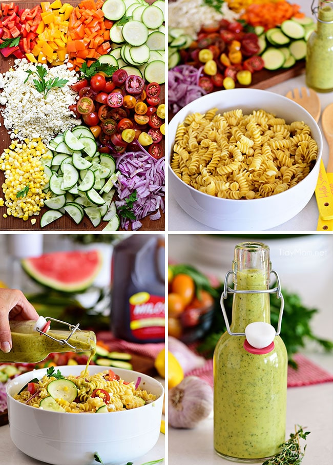 summer pasta salad photo collage