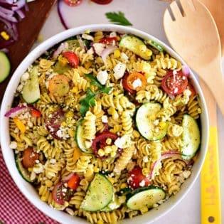 overhead shot of summer pasta salad
