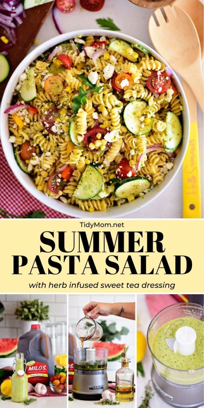 summer pasta salad with sweet tea dressing