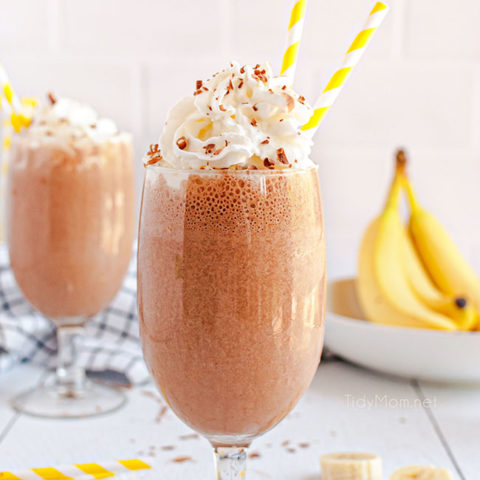 milkshakes with yellow straws and bananas