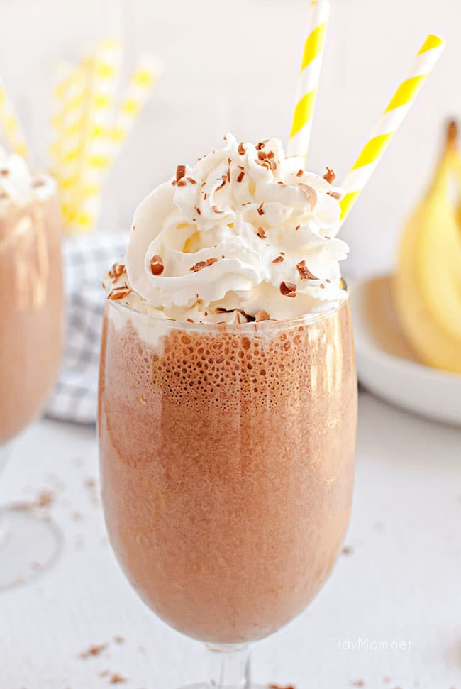 milkshakes with yellow straws and chocolate sprinkles