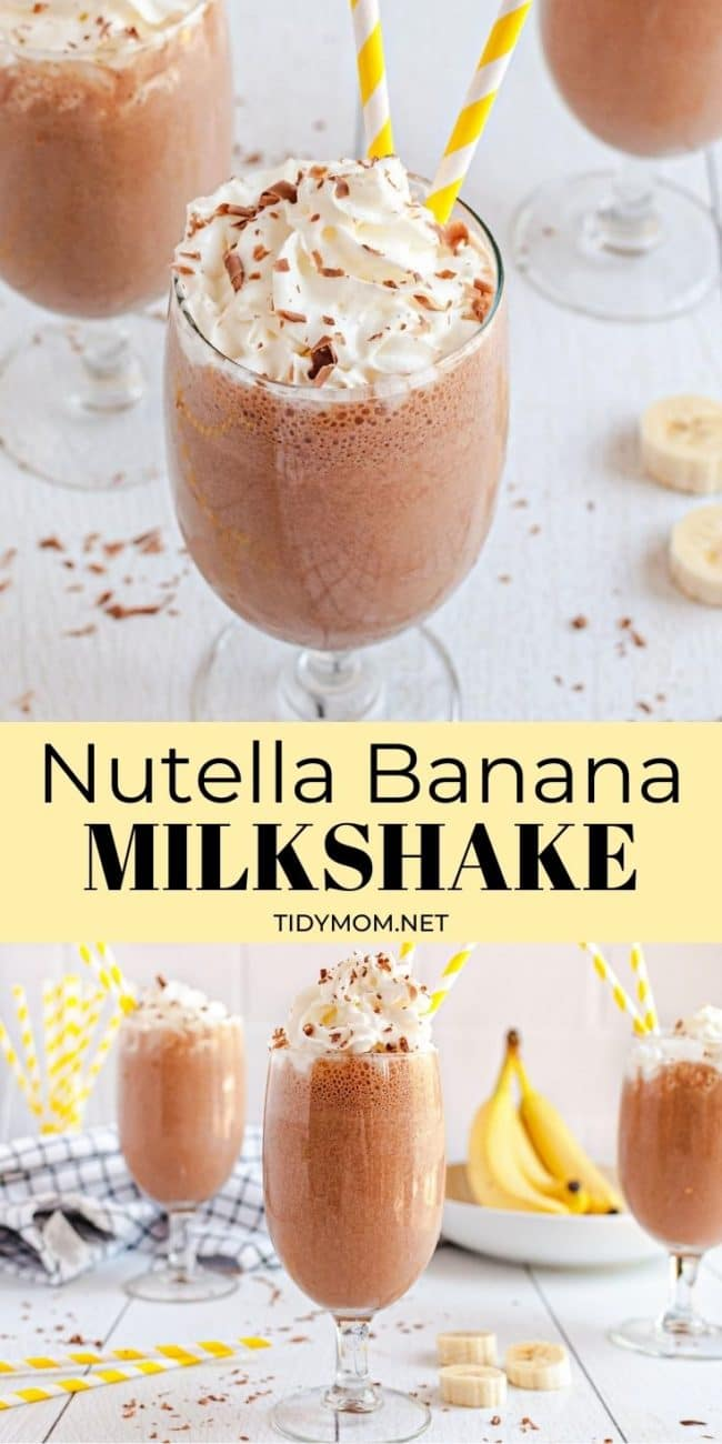 banana milkshakes in glasses with Nutella and whipped cream