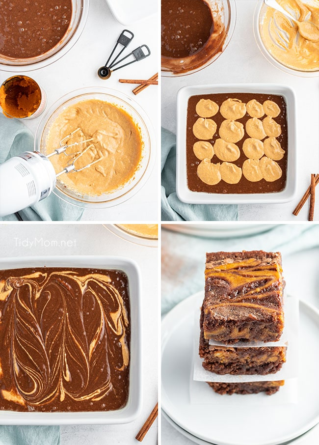 how to make pumpkin brownies photo collage