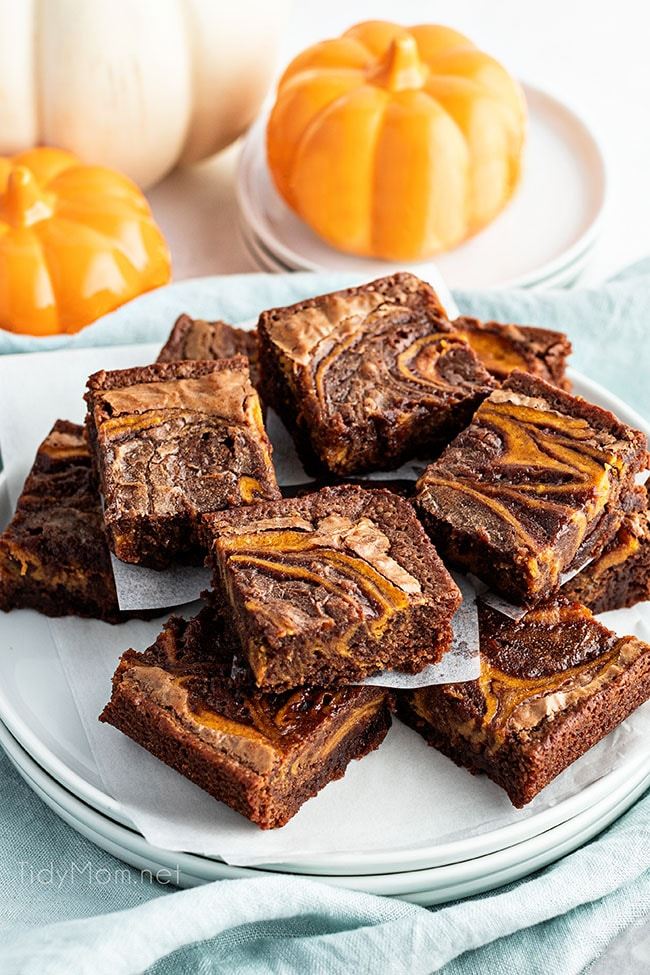 plate of cut pumpkin brownie squares