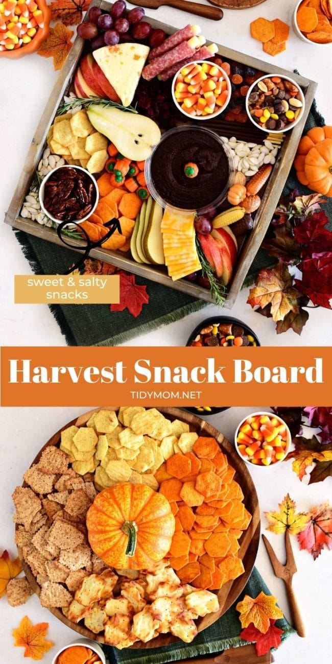 2 fall themed snack boards with sweet and salty treats photo collage