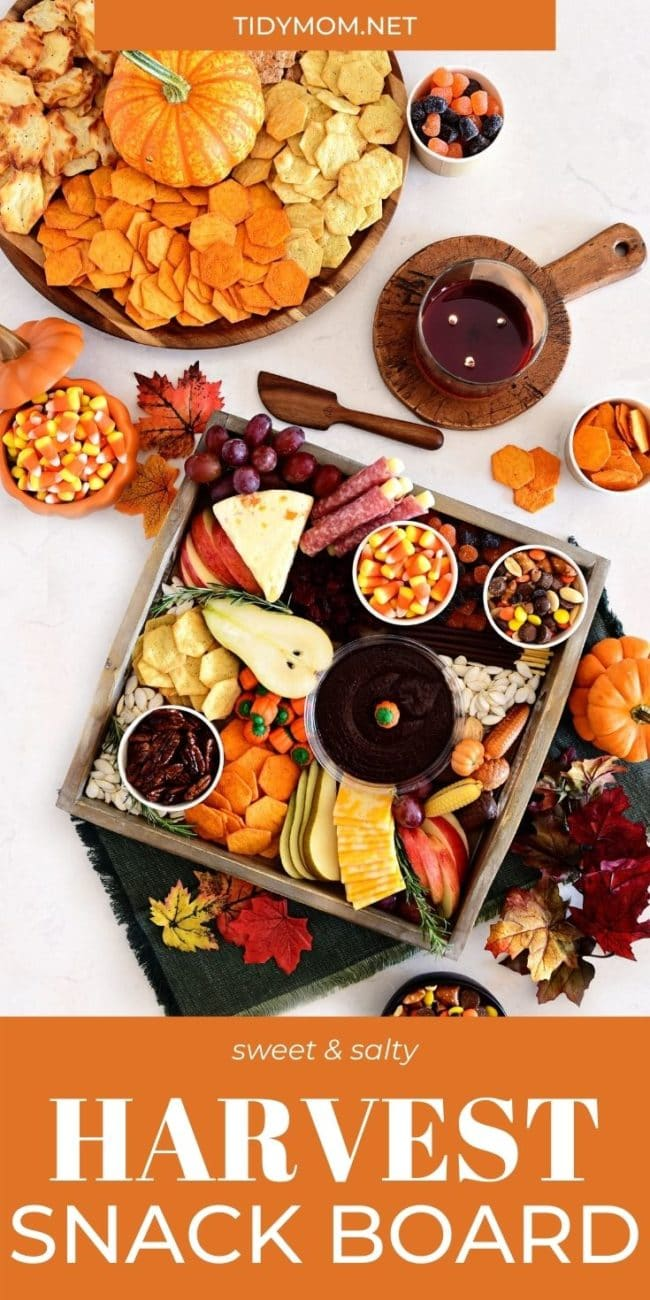 fall themed snack boards with sweet and salty treats