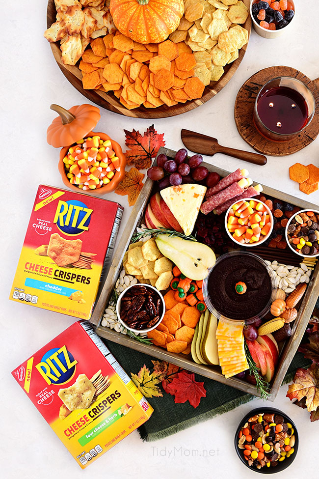 fall themed snack boards with RITZ crackers boxes