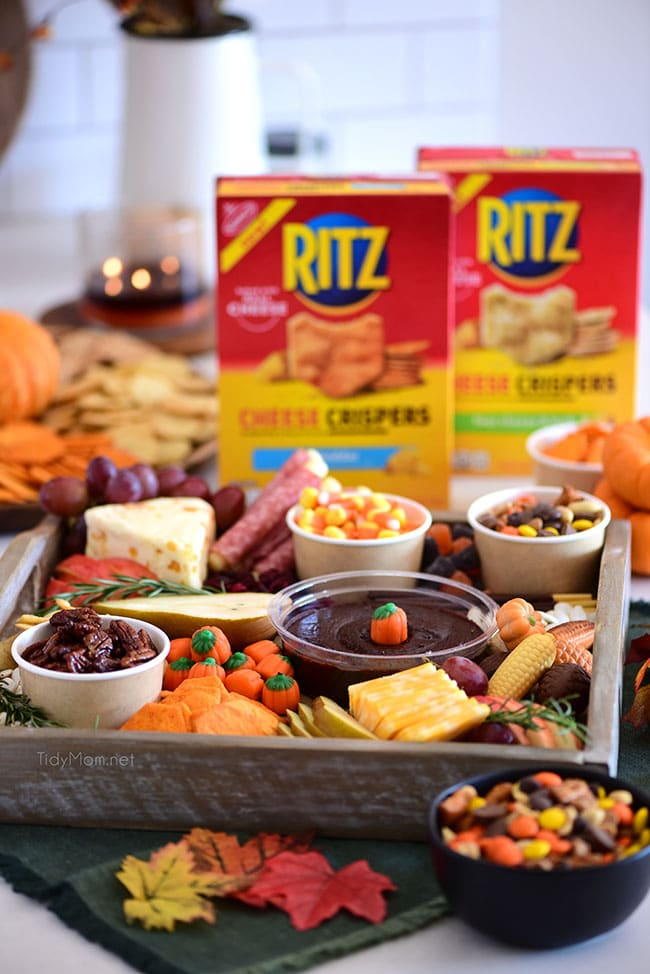 snack board with Ritz Crackers and other treats