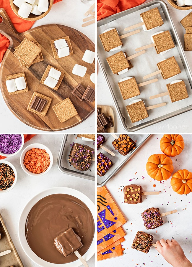 photo collage of how to make s'mores pops