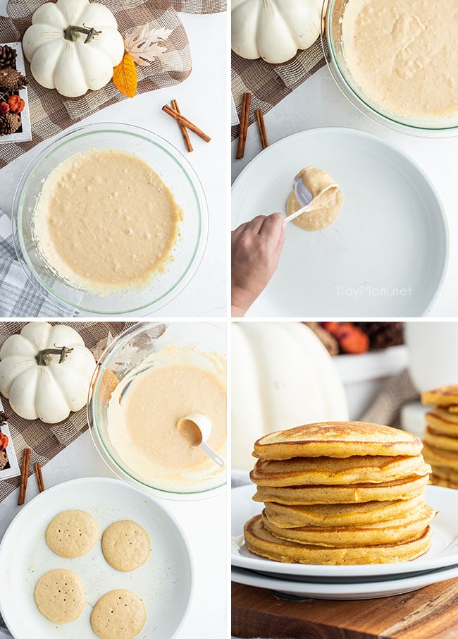 making pancakes in a skillet