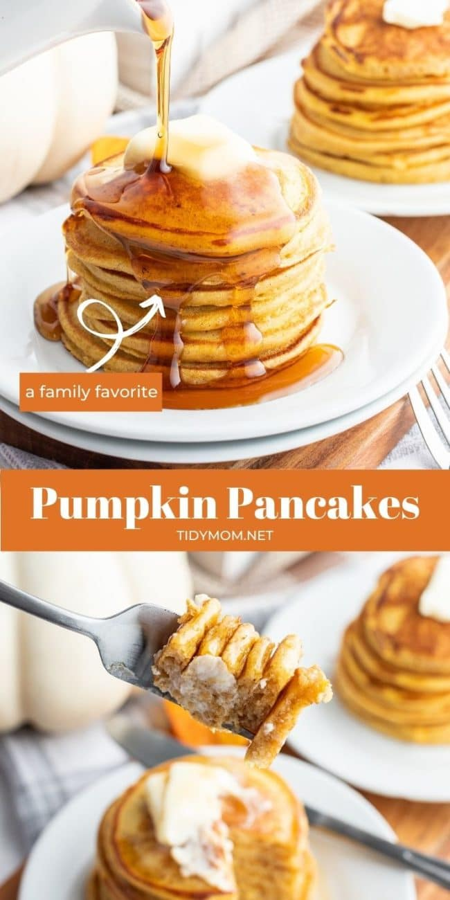 stack of pancakes on plate with syrup and a fork