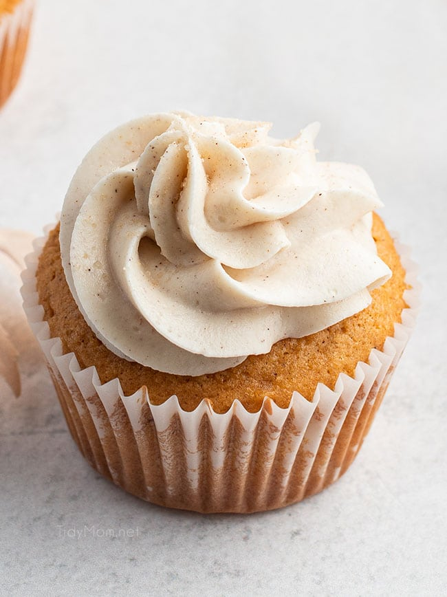 close up of cupcake with swirl of frosting
