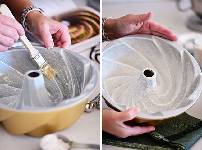 grease and flour a bundt pan
