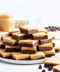 fudge cut and stacked on a plate a