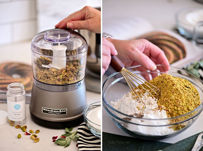 chopping pistachios in food processor and mixing into flour