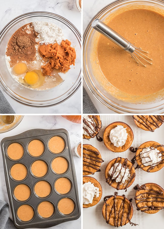 how to make crustless mini pumpkin pies photo collage