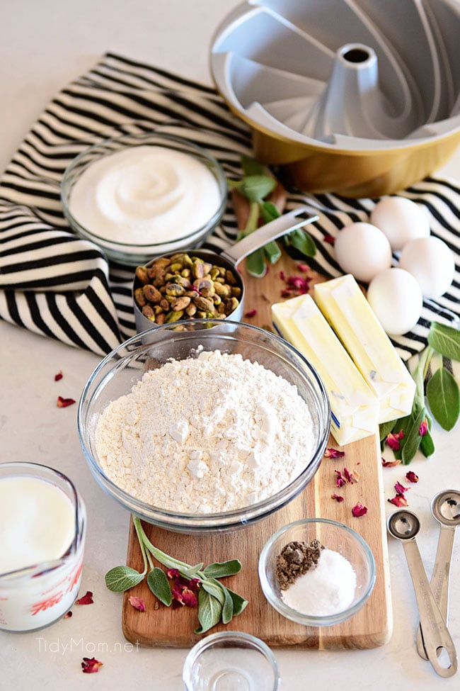 bundt cake ingredients laid out on a striped towel