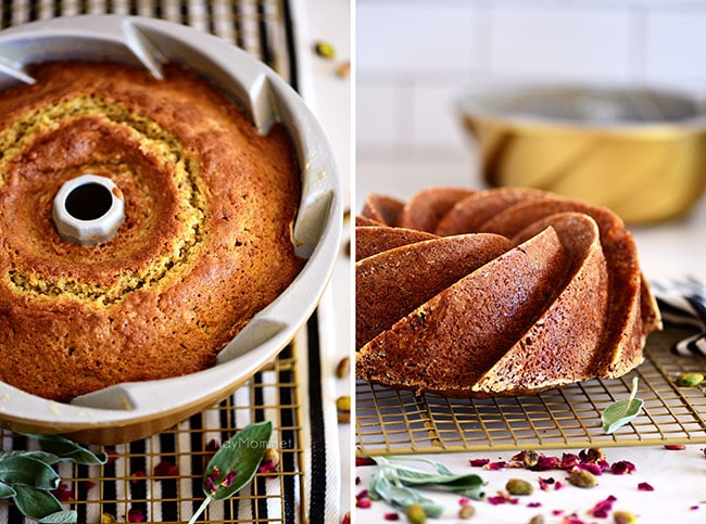 bundt cake in the pan, and out of the pan on a cooling rack