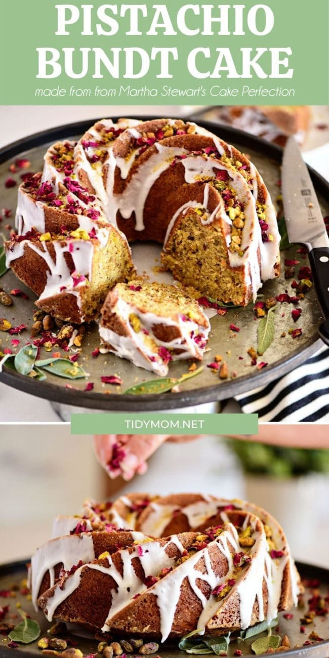 Bundt Cake with icing drizzled and garnished with dried rose petals and pistachios photo collage