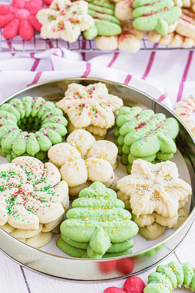 Christmas spritz cookies in a tin