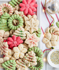 christmas spritz cookies on white platter