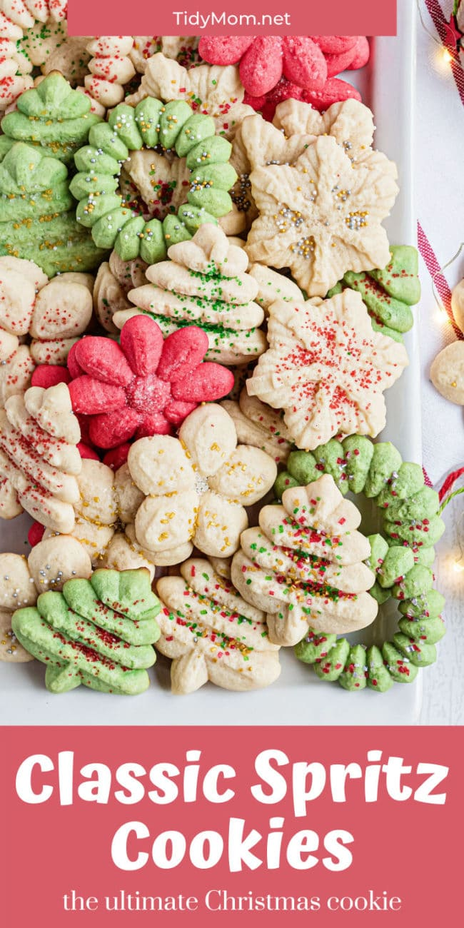 holiday spritz cookies on white platter