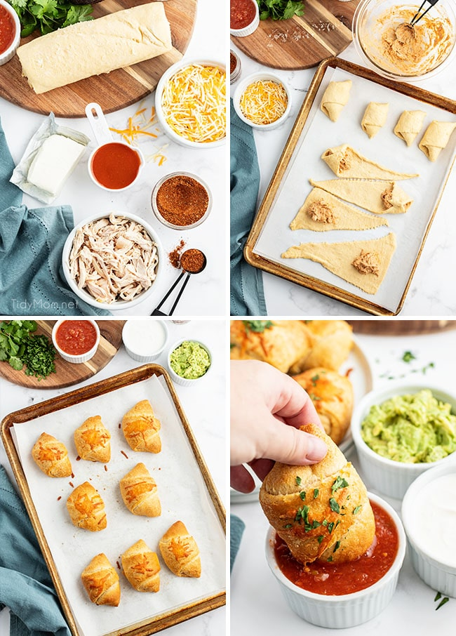 photo collage of how to make enchilada puffs