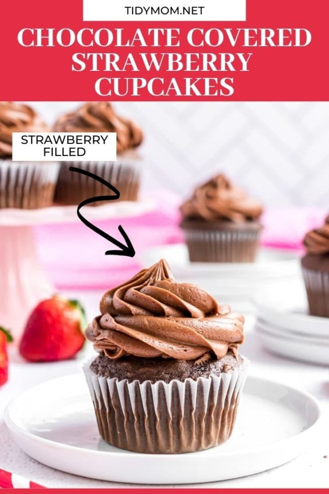 chocolate cupcakes on plates with strawberries