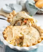 piece of pot pie on a pie server