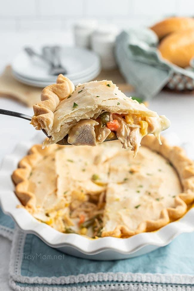 piece of pot pie on a pie server