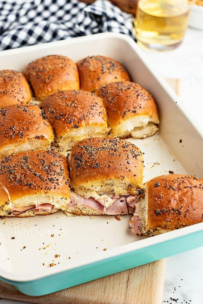 ham sliders in blue baking dish