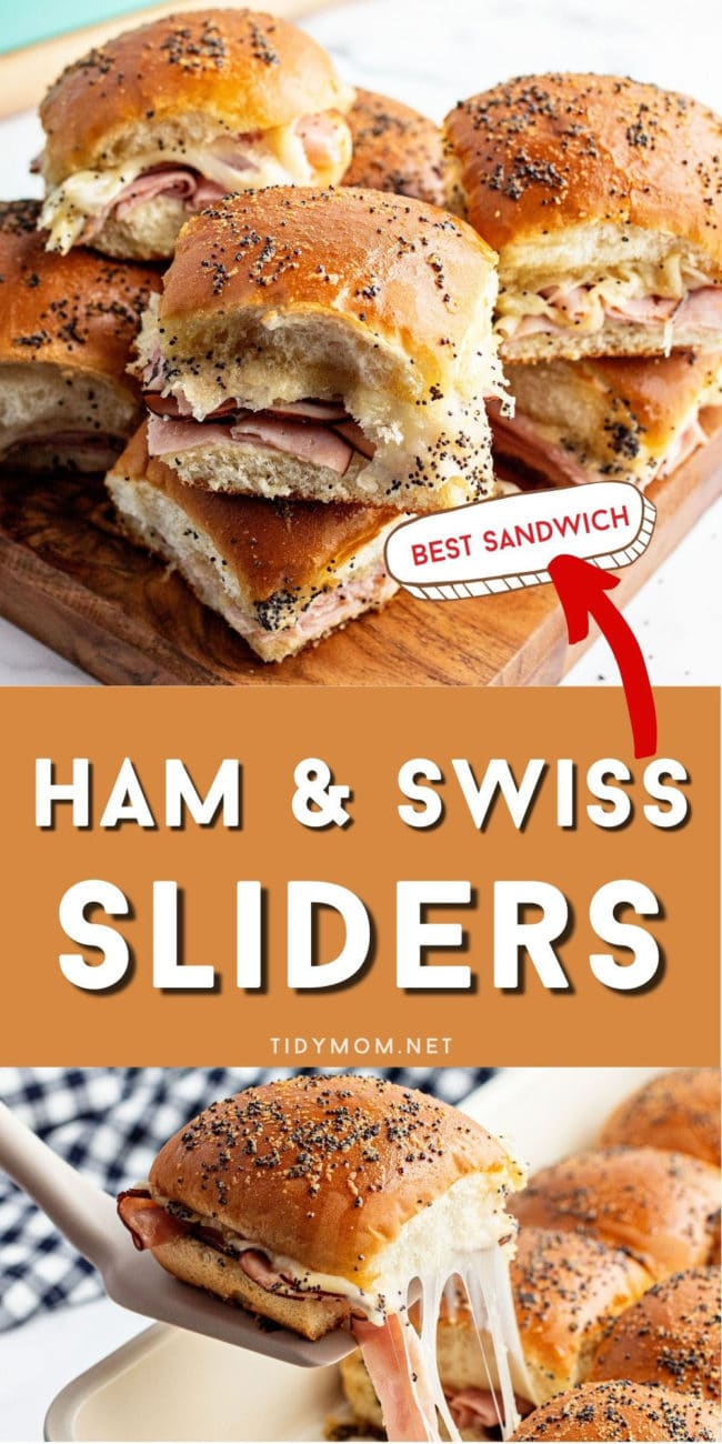 slider sandwiches on a tray and in a baking dish with cheese pull