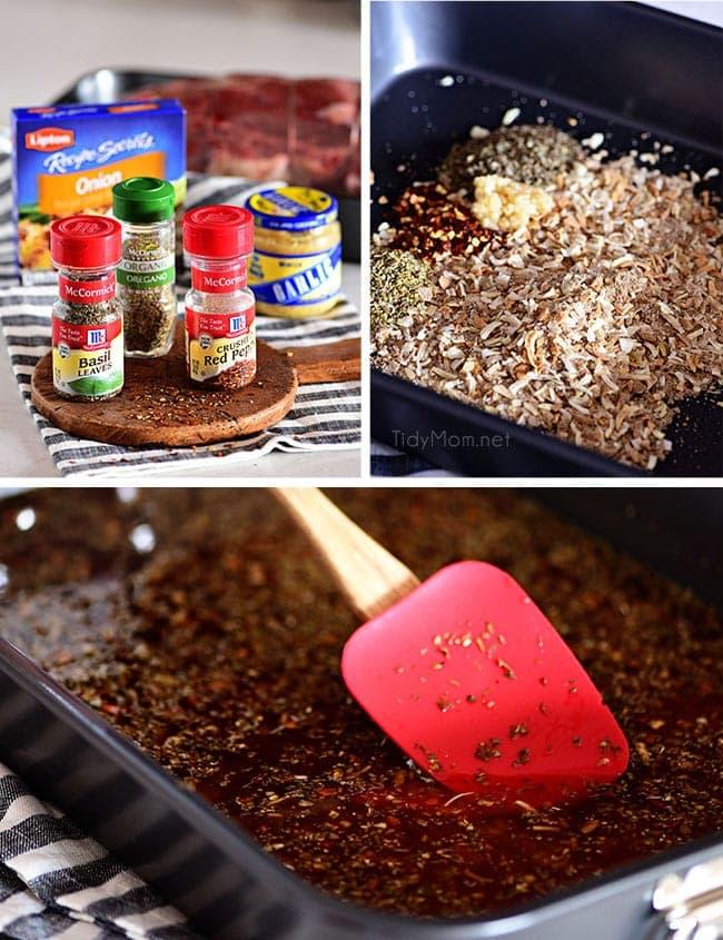 ingredients for Italian Beef, seasonings and meat