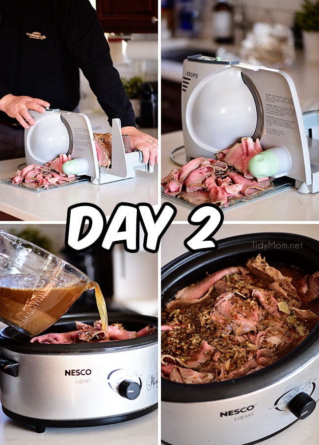Italian beef day 2 prep photo collage