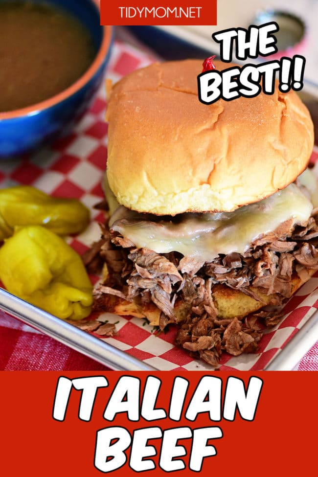 Italian beef on a bun with cheese