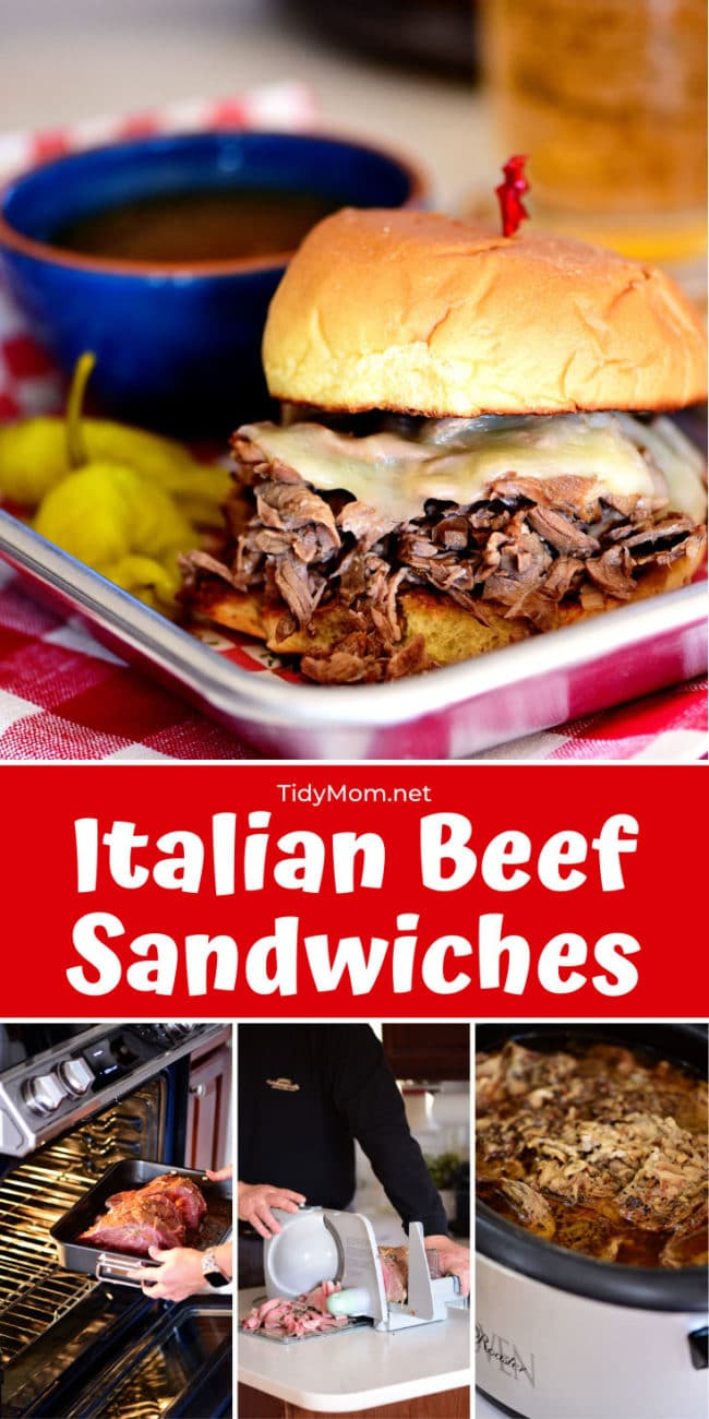 Italian beef sandwich with cheese and a bowl of au jus and pepperoncini
