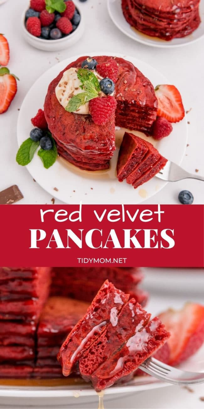 red velvet pancakes with a bit cut out
