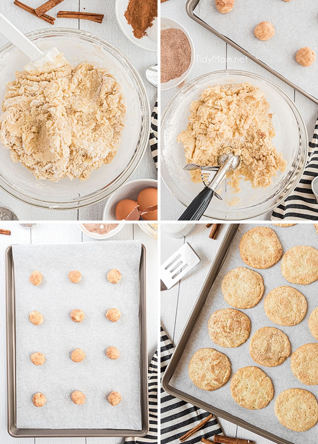 photo collage of steps on how to make snickerdoodles
