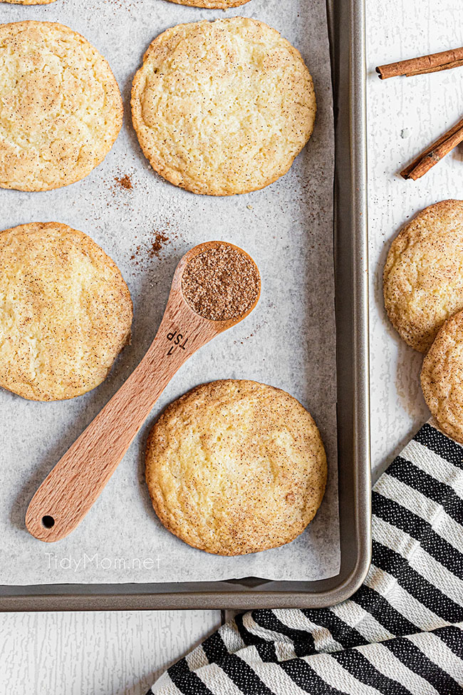 snickerdoodles on a cookie sheet with a spoon full of cinnamon laying next to them